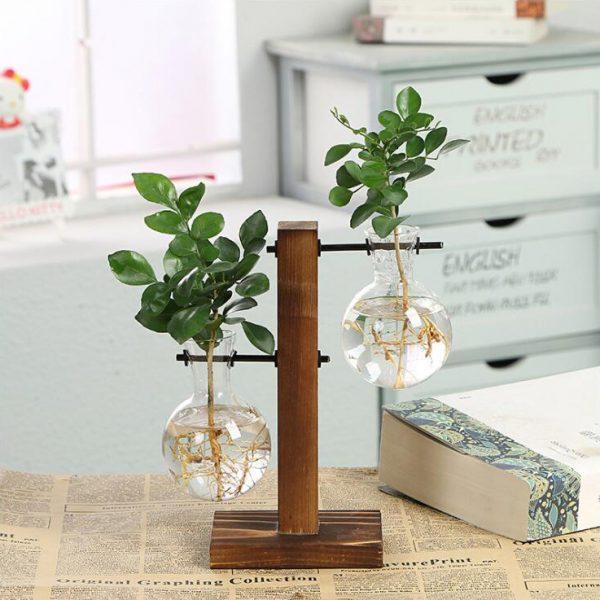 Vintage-Style-Glass-Tabletop-Plant-Bonsai-Flower-Christmas-Decorative-Vase-With-Wooden-L-T-Shape-Tray-0
